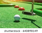 golf ball and golf club on... | Shutterstock . vector #640898149