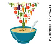 soup with vegetables isolated ... | Shutterstock .eps vector #640901251
