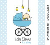 baby shower card. baby boy | Shutterstock .eps vector #640902385