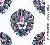 seamless pattern of a lion head ... | Shutterstock . vector #640904881
