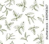seamless pattern with green tea ... | Shutterstock .eps vector #640908367