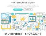 modern line flat interior... | Shutterstock . vector #640913149
