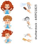 the steps of the hairstyle | Shutterstock .eps vector #640921825