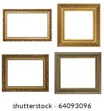 Four antique picture frames. High resolution - stock photo