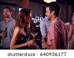 young man and woman talk and... | Shutterstock . vector #640936177