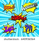 set  of colored comic book text ... | Shutterstock .eps vector #640936564