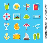 summer travel stickers. vector... | Shutterstock .eps vector #640936999