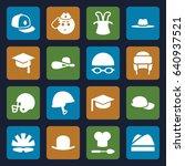 hat icons set. set of 16 hat... | Shutterstock .eps vector #640937521