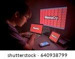 wannacry ransomware attack on... | Shutterstock . vector #640938799
