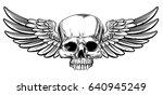 winged skull vintage woodcut... | Shutterstock .eps vector #640945249
