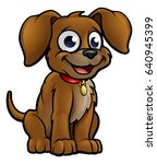 cute cartoon dog character... | Shutterstock .eps vector #640945399