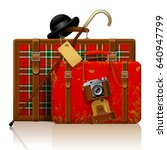 red old suitcases with walking... | Shutterstock .eps vector #640947799