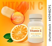 vitamin c package with an... | Shutterstock .eps vector #640948291