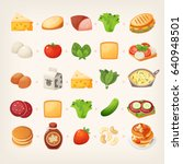 set of colorful products and... | Shutterstock .eps vector #640948501