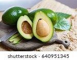 green ripe avocado from organic ... | Shutterstock . vector #640951345