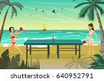young women in bikini play on... | Shutterstock .eps vector #640952791