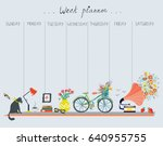 weekly planner with cute design ... | Shutterstock .eps vector #640955755