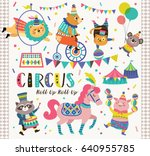 set of circus cartoon animals | Shutterstock .eps vector #640955785