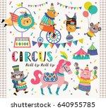 Stock vector set of circus cartoon animals 640955785