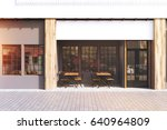cafe exterior with gray walls... | Shutterstock . vector #640964809