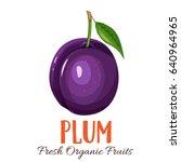 vector plum. fruit illustration ... | Shutterstock .eps vector #640964965