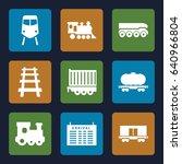 train icons set. set of 9 train ... | Shutterstock .eps vector #640966804