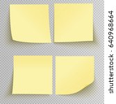 set of office yellow sticky... | Shutterstock .eps vector #640968664