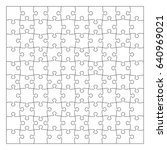 puzzle template 100 pieces.... | Shutterstock . vector #640969021