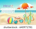 hello summer. beach landscape... | Shutterstock .eps vector #640971781