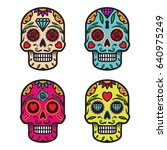 set of vector skulls