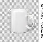 white ceramic mug. realistic... | Shutterstock .eps vector #640981255