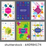 abstract geometric banners ... | Shutterstock . vector #640984174
