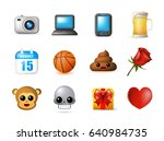 12 emoticon on white background.... | Shutterstock .eps vector #640984735