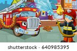 cartoon stage with fireman near ... | Shutterstock . vector #640985395
