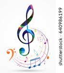 colorful music notes background | Shutterstock .eps vector #640986199