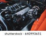 under the hood of sports car.... | Shutterstock . vector #640993651