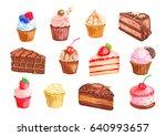 cake and cupcake dessert set... | Shutterstock .eps vector #640993657