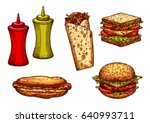 fast food burger and sandwich... | Shutterstock .eps vector #640993711