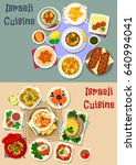 israeli cuisine shabbat dinner...   Shutterstock .eps vector #640994041