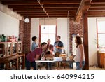 five friends stand talking over ... | Shutterstock . vector #640994215