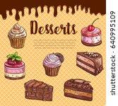 cake dessert menu poster with...   Shutterstock .eps vector #640995109