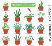 room plants in clay pots vector ... | Shutterstock .eps vector #640997047