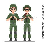 male   female soldiers in a sun ... | Shutterstock .eps vector #641000554