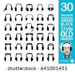 earphone  headset icons | Shutterstock .eps vector #641001451