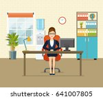 office workplace with table ... | Shutterstock .eps vector #641007805