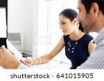 attractive office worker... | Shutterstock . vector #641015905
