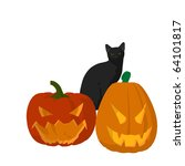 black cat on a pumpkin on a... | Shutterstock . vector #64101817