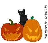 black cat on a pumpkin on a... | Shutterstock . vector #64102054