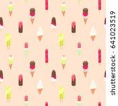 ice cream seamless vector... | Shutterstock .eps vector #641023519