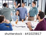 business team celebrating... | Shutterstock . vector #641025817